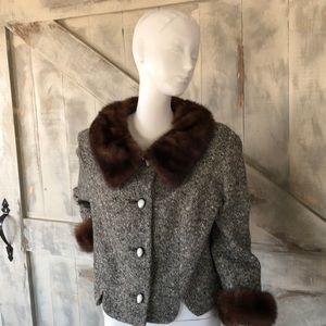 Vintage wool and mink jacket